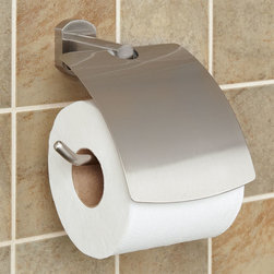 Marlton Toilet Paper Holder - Furnish toilet tissue in a more genteel way with the solid brass Marlton Collection Toilet Paper Holder. A sleek cover discreetly shelters bathroom tissue.