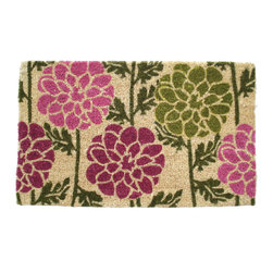Entryways - Dahlias Hand Woven Coconut Fiber Doormat - Single Doormat, hand-woven, hand-painted, hand-stenciled, fade resistant, natural coir (coconut fiber), durable, best location is covered area, shake or sweep clean.