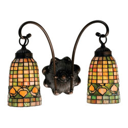 Meyda Tiffany - Meyda Originals Acorn Wall Sconce - Requires two 60 watt medium type bulbs. Victorian lodge tiffany country theme. Geometric grid pattern. Hand crafted. Gracefully curved arms. Made from mahogany bronze. Rust and olive green color. 14.5 in. W x 9 in. D x 11.5 in. H. Instructions Manual. Care Instructions