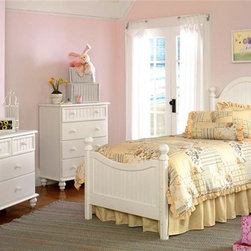 Hillsdale Furniture - Westfield Collection 4 Pc Bedroom Set in Off - Choose Bed Size: TwinBring to mind beachfront breezes and warm country nights with this cottage inspired four-piece bedroom set, featuring planked accents and turned feet for a warm, charming look. The set is made of wood and is finished in a crisp white finish. It includes a bed in your choice of sizes, a dresser and mirror and a two-drawer nightstand. Includes bed, dresser, mirror, and nightstand. Chest not includedDimensions:. Twin headboard: 41 in. W x 52 in. H . Twin bed frame: 76 in. L x 54 in. W. Full headboard: 56 in. W x 52 in. H . Full bed frame: 76.5 in. L x 54 in. W. Dresser: 55 in. W x 18 in. D x 31.5 in. H. Mirror: 30 in. W x 44 in. H. Nightstand: 23.25 in. W x 15 in. D x 26 in. HInspired by classic cottage styling, the Westfield youth bedroom collection features a traditional curved headboard, bead board details and lovely sculpted feet. Finished in a perfectly charming White, and complete with a dresser, mirror, nightstand, chest and matching desk, this collection is a refreshing and cheerful addition to your child's room.