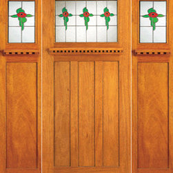"Stained Glass Mission Style, Mahogany Prehung Door and Two Sidelites - SKU#    AC-702-A_1-2-SBrand    AAWDoor Type    ExteriorManufacturer Collection    Arts and Crafts Front DoorsDoor Model    Door Material    Woodgrain    Veneer    Price    1830Door Size Options    [30""+2(18"") x 80""] (5'-6"" x 6'-8"")  $0[36""+2(18"") x 80""] (6'-0"" x 6'-8"")  +$510[36""+2(18"") x 84""] (6'-0"" x 7'-0"")  +$590Core Type    Door Style    Craftsman , MissionDoor Lite Style    1 LiteDoor Panel Style    3 PanelHome Style Matching    Craftsman , Prairie , Bungalow , Mission , Arts and CraftsDoor Construction    Prehanging Options    PrehungPrehung Configuration    Door with Two SidelitesDoor Thickness (Inches)    1.75Glass Thickness (Inches)    3/4Glass Type    Triple GlazedGlass Caming    BlackGlass Features    Beveled , Tempered , InsulatedGlass Style    Art GlassGlass Texture    Glue Chip , StainedGlass Obscurity    Door Features    Door Approvals    FSCDoor Finishes    Door Accessories    Weight (lbs)    850Crating Size    25"" (w)x 108"" (l)x 52"" (h)Lead Time    Slab Doors: 7 daysPrehung:14 daysPrefinished, PreHung:21 daysWarranty"