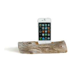 Docksmith - Docking Station for a Smartphone- Driftwood from Maine, Iphone 5/6/6+ - Charge your smart phone on a piece of driftwood. Each piece is of natures design using the wind, sea and sand as it's tools. Our beach driftwood is collected on the coast of Maine and then crafted by us for you.