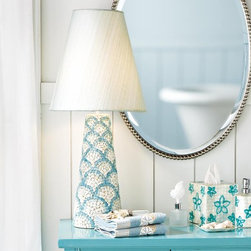 """Shell Mosaic Lamp - Create a space for art in your master bathroom. Designs in eye-catching shades of aqua litob shell is fresh and original. Each piece is truly a work of art. Handcut and handmade in the Philippines. 30""""h x 14"""" dia"""