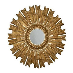 Eleganza Mirror in Antique Gold Finish - This is a very classic sunburst mirror with a Mexican or Peruvian flavor. It would be beautiful in a Spanish colonial space.
