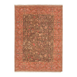 Jaipur Rugs - Hand-Knotted Oriental Pattern Wool Brown/Red Area Rug - Home fashions veteran Raymond Waites brings his unique design vision to Uptown, the most traditional of his Man About Town series of collections. The rich colorations accent his updated interpretations of familiar motifs in this sophisticated range, crafted in 8/8 hand-knotted construction. Hand-carded wool alters the way that the yarn takes the dyeing process, giving each piece a beautiful abrash effect and a soft hand.