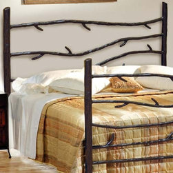 Mathews & Company - Woodland Wrought Iron Headboard - Make your guestroom or bedroom feel warm and welcoming with our Woodland Wrought Iron Headboard. It comes in both King and Queen sizes and is the perfect addition to any bedroom. This Woodland style is also available with a footboard to complete the beautiful look. Hand-crafted wrought iron vines creep horizontally between the iron posts of the bed. Artistic and natural, each one defies order and rigidity by curving across the design for an attractive, rustic appearance. Pictured in Black finish.