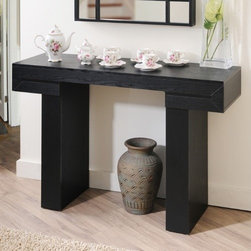 Hokku Designs - Aveline Modern Console  Table - Features: -Medium fiber board, wood veneered frame.-Substantially thick table top panel.-Table top panel connects solidly with two thick vertical bases.-Modern design looks best behind the sofa, entryway or hallway.-Black finish.-Distressed: No.Dimensions: -Overall Product Weight: 52 lbs.Warranty: -30 Day manufacturer limited warranty.