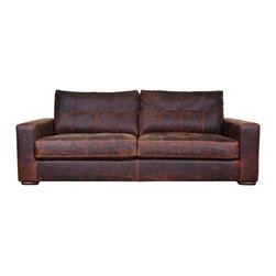 "COCOCOHome, Inc. - 87"" Modern Monroe Couch - This 87 x 42 Monroe Couch is made in Havana Bourbon leather with blind tufted seat and back cushions."