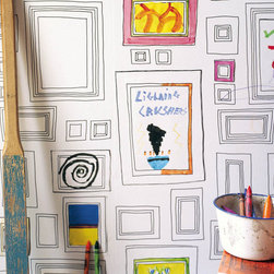Graham & Brown - Frames Wallpaper - Artists Taylor and Wood, designed Frames. It's a completely interactive wallpaper - you decide what you want it to be - whether you want to put up your youngsters art, paint directly in to a frame, or put up family photos - it's up to you!