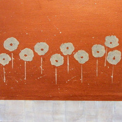 Dangling Poppies (Original) by Debera - Dangling Poppies is a signed, original acrylic painting that comes with a Certificate of Authenticity.  Playing with the white wash of aged wood and copper, I created this painting using a palette knife and fluid medium.  It's simplicity makes it modern yet eclectic in nature.