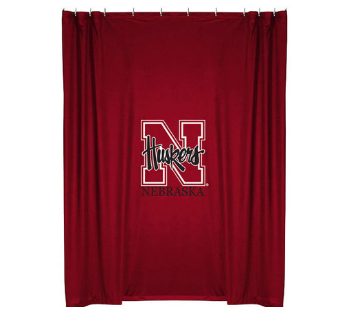 Sports Coverage - NCAA Nebraska Huskers College Bathroom Accent Shower Curtain - Features: