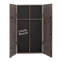 Inova Team -Rustic Wood And Iron Chalkboard - Between its generously sized chalkboard and four schoolhouse-style hooks, this unit is a unique way to set up your home's command center. The long, distressed wood shutters give it a stunning rustic, countrified feel.