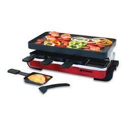 Swissmar - Swissmar Red Classic 8-Person Raclette Grill - KF-77043 - Shop for Indoor Grills and Sandwich Makers from Hayneedle.com! A tradition from Switzerland raclette dinners are fun for everyone. This red enameled stainless steel Swissmar Red Classic 8-Person Raclette Grill features a nonstick reversible grill/crepe top ideal for grilling meats and veggies and it is also perfect for grilling sandwiches eggs bacon pancakes and dessert crepes. The variable heat control and 1 200 watts of power allow for fast heating. This Swissmar raclette grill simultaneously cooks the food on the top grill and melts cheese on the trays below. The grill is incredibly simple to use and quick to clean.This set includes eight heat-resistant spatulas and eight nonstick raclette dishes with stay-cool handles for guests. The Red Classic raclette grill also makes a wonderful gift and is delivered in a gift box. Dimensions: 16.75L x 9.5W x 5.5H inches.About Swissmar Imports Inc.Swissmar has been providing quality products and service at affordable prices for more than 25 years. The company is proud to be the exclusive North American partner for internationally known brands such as Peugeot of France Boerner of Germany and Dalla Piazza of Switzerland. Swissmar has also developed many other partnerships throughout the world to bring you a diverse product assortment.Over the last few years Swissmar has expanded its own brand of products such as raclettes fondues wine accessories bamboo boards cheese knives and accessories. You can now find Swissmar brand products in many countries around the world. The company's corporate headquarters are located Richmond Hill Ontario Canada which is also home to its Canadian showroom and warehouse. A warehouse in Niagara Falls NY and two sales offices in the United States mandate an extensive network of sales reps and showrooms throughout the United States and Canada.