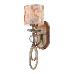 Savoy House - Acacia - The stunning shade on this richly detailed wall sconce inspires thoughts of gorgeous tile work. The base also provides you with geometric interest, thanks to a glass orb and oval loops.