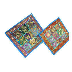 2 Azure Blue Decorative Pillow Cushion Covers - Decorate your bedding bedroom textures and patterns to a interior with our beautifully handmade beaded embroidered patchwork pillow cushion covers.