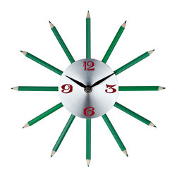 Pencil Wall Clock - Hone your creative abilities with twelve finely sharpened channels of inspiration. Actual green colored pencils help turn thoughts into writing as you develop your own flowing narrative of life. Connect insights, and time, as you inscribe reality with the gift of green and verdant contributions.