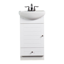 Fine Fixtures - Fine Fixtures Complete Petite Vanity Collection, White, White Basin - It is somewhat surprising how many manufacturers make it a choice between saving space and saving money. Our Petite thinks you deserve to be treated otherwise. In fact, if you are looking to save space, we understand chances are you would enjoy saving on the price tag as well. That's way the Petite comes in a hard-to-find super-space-saver package, yet is proudly available at a non-inflated price that's even harder to find. The vanity features a nice overhanging grade AAA vitreous china sink basin that smartly extends forward and not to the sides. This adds elbow space for washing up without cutting down on your limited available space. Choose from 3 finishes: Oak and Dark Cherry colors are solid wood stained, and White has a high-gloss lacquer front panel with matte sides. Vanity door and drawer hardware is satin nickel.