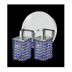 Elegant Lighting - Mini Sapphire Crystal Sconce w 2 Lights in Chrome (Strass Swarovski) - Choose Crystal: Strass Swarovski. Bulbs not included. Crystal Color: Sapphire (Blue). Chrome finish. Number of Bulbs: 2. Bulb Type: GU10. Bulb Wattage: 55. Max Wattage: 110. Voltage: 110V-125V. Assembly required. Meets UL & ULC Standards: Yes. 9 in. D x 13.5 in. H (6lbs.)Description of Crystal trim:Royal Cut, a combination of high quality lead free machine cut and machine polished crystals & full-lead machined-cut crystals..SPECTRA Swarovski, this breed of crystal offers maximum optical quality and radiance. Machined cut and polished, a Swarovski technician¢s strict production demands are applied to this lead free, high quality crystal.Strass Swarovski is an exercise in technical perfection, Swarovski ELEMENTS crystal meets all standards of perfection. It is original, flawless and brilliant, possessing lead oxide in excess of 39%. Made in Austria, each facet is perfectly cut and polished by machine to maintain optical purity and consistency. An invisible coating is applied at the end of the process to make the crystal easier to clean. While available in clear it can be specially ordered in a variety of colors.Not all trims are available on all models.