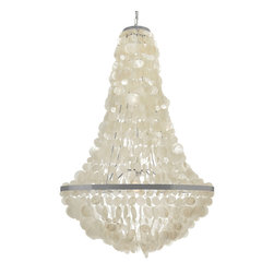 Kouboo - Manor Capiz Chandelier - Fuse the traditional pear shape with the beauty of delicately crafted, translucent seashells and the result is a stunning piece worthy of any coastal home. This capiz chandelier is the perfect decorative pendant light for your foyer, staircase, above the dining table or your high ceiling living room. The timeless style and neutral colors will decorate your home even if you live far away from the shore1 year limited warranty.