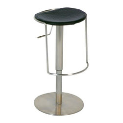 Chintaly - Contemporary Stainless Steel Adjustable Swive - Definitely different, this amazing adjustable stool is like nothing you've seen before.  For those who love the out-of-the-ordinary, this spectacular design is a must-have.  With a wide circular base for stability, this unique stool features a lever-controlled pneumatic lift that easily lowers and raises the seat height to make it suitable for counter or bar height.  Padded for added comfort, this handsome stool is as practical as it spectacular. Adjustable height. Pneumatic stool. Contour seat. Stainless steel. Black PVC upholstery. Minimal assembly required. 16.5 in. W x 16.5 in. L x 22 - 32 in. H