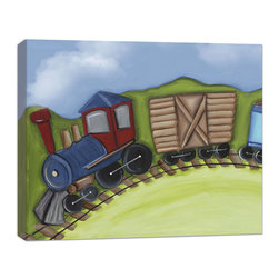 """Doodlefish - Engine Canvas Art - This Doodlefish stretched Canvas Giclee of the first three cars of a cute train travelling through the countryside. Unframed, this pieces is a stretched canvas that is gallery-wrapped around thick museum quality wood.  Framed, it is mounted and framed in your choice of frame colors. The finished size with the frame is 24"""" x 20""""."""