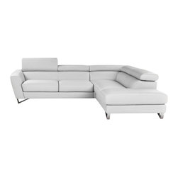Nicoletti - Nicoletti White Italian Leather Sparta Sectional Sofa with Right Facing Chaise - The Nicoletti Sparta Sectional in White is a truly lovely modern sofa that will compliment any contemporary home. This great new product features top grain genuine Italian leather, stainless steel legs, adjustable head rest and ratchet mechanism.