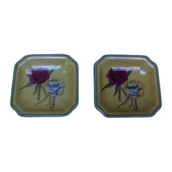 Golden Lotus - Modern Asian Hand Painted Porcelain Display Dishes - This is a nicely hand made porcelain display dish with modern Asian graphic and color. ( not for cooking and food serving ) ( 2 per order )