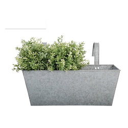 Zinc Rectangular Flower Box Balcony Planter - Balcony gardening is easy with the Zinc Rectangular Balcony Planter kit, complete with hanging hooks. Each zinc railing planter brings modern galvanized metal into your green garden of natural tones. Appreciate the juxtaposition of modern railing planters and traditional English garden plantings by adding trailing plants and vines. Or, go completely contemporary with your balcony garden by lining your entire railing, then planting succulents, ornamental grasses or go artificial for guaranteed year-round flowering plants