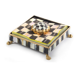 Courtly Check Cocktail Napkin Holder Set   MacKenzie-Childs - A great new way to keep your napkins organized and handy. Set includes hand-painted Courtly Stripe holder, one pack of Courtly Check Paper Cocktail Napkins, and a ceramic Courtly Check Round Knob.