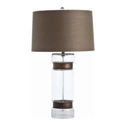 Arteriors Garrison Cylinder Vintage Brass/Glass Lamp - Garrison Cylinder Vintage Brass/Glass Lamp