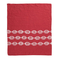 Montauk Chains Hand Towel, Red/White