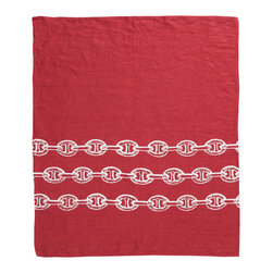 Cricket Radio - Montauk Chains Hand Towel, Red/White - The color and pattern on this towel will give you waves of fun and a much-needed style anchor. Hand-printed on soft, Italian linen, they come in your choice of colors. At 21 by 26 inches, each would look great in your kitchen or guest bath —or get a bunch to use as oversize napkins at your next nautical soiree.
