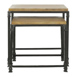 Safavieh - Abraham Nesting Tables - The rustic charm of reclaimed wood contrasted dark hand-forged iron frame defines the timeless appeal of the Abraham Nesting Tables. The natural coloration and tones of solid ash wood make a solid statement about the sophistication and charm of natural beauty.