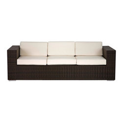 Source Outdoor - King Sofa - Included Off-White cushions are made of thick outdoor foam covered in durable white outdoor polyester fabric. Color/Finish: Espresso. Material: High Density Polyethylene Wicker. No Assembly required. Frame made with high quality powder coated aluminum to prevent rust and corrosion. Weave is made of High Density Polyethylene, which ensures the long lasting beauty of the furniture. Built to Hospitality grade and meant to be outside in the elements 24/7 . 39 in. L x 94 in. W x 26 in. H, (90 lbs). It is recommended that furniture not be stored upside down