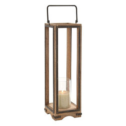 """Benzara - Mesmerizing Stylish Wood Metal Glass Lantern - This metal, wood and glass constructed lantern instantly adds interest to the place it is kept in. this lantern features rectangle shaped sides. The slender wood finish and sturdy handle helps you hook the lantern to any wall of your choice. Also the handle helps you carry the lantern from one place to another. Add a white or beige colored candle to the lantern to cast a warm glow in the ambiance. The lantern will get along well with all kind of home interiors and also it can be used for both indoor and outdoor use. You must have never before seen a lantern like this, as this is just one of its kinds. Apart from adding brightness to the surroundings, the lantern will add warmth too. The sight of the lantern with the candle glow is worth a watch. So, get it if you like the style of this lantern. Wood Metal Glass Lantern measures 8 inches (Width) x 8 inches (D) x 31 inches (H); Made of quality wood, metal and glass; Durable construction; Dimensions: 16""""L x 6""""W x 18""""H"""