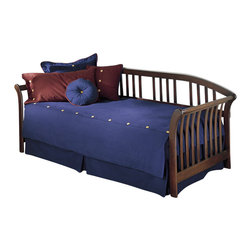 Fashion Bed - Fashion Bed Salem Wood Daybed in Mahogany Finish - Fashion Bed - Daybeds - B51K57 - The Salem daybed is certainly bewitching...but in a most pleasant way. The beautifully honed wood frame looks as if it was carved from an old-fashioned anvil of a skilled woodcrafter... This tried and true daybed has been smoothly sculpted to be a fine piece of furniture. The Salem daybed will definitely add an element of beauty to any room in your house. The slightly curving headboard and sleigh arms that bend outward - welcome those who want to sit or sleep. Probably the first thing you notice about the Salem daybed is its exquisite Mahogany finish. The rich tone has a beautiful blend of dark brown and red--formal and yet hospitable. The lovely hand-rubbed patina literally beckons you into a room.
