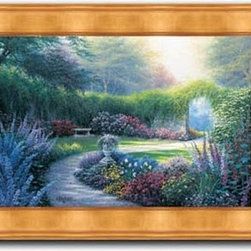 """Charles White - Down the Garden Path 20 x 28 Print - """"Down the Garden Path"""" is a garden landscape canvas giclee by Charles White. We present this to you in a gold panel frame with raised back and lip. This makes an overall framed size of 20 x 28."""