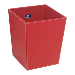WS Bath Collections - Ecopelle 2603BK Waste Basket, Red - Ecopelle 2603 by WS Bath Collections 16.9 x 10.2 x 18.9 Waste Basket, External Coating Synthetic Leather, Linen Synthetic Cloth, Structure in MDF Fibreboard