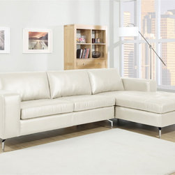 Baxton Studio - Baxton Studio Lazenby Cream Leather Modern Sectional Sofa - Our Lazenby Sectional Sofa is an urban gem: with sleek lines and versatile simplicity, it's an instant winner in our book. The Lazenby Designer Sofa is made with a sturdy solid Dahurian Larch wood frame.