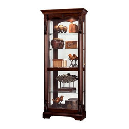 Howard Miller - Bernadette Glass Shelves Cabinet in Hampton C - Hampton Cherry finish on select Hardwoods and Veneers with light distressing. Front door slides in both directions for convenient access to the shelves. Glass mirrored back enhances your treasures. Four Glass shelves provide ample display space. Pad-Lock metal shelf clips lock shelves into place. Locking door secures your collectibles. No Reach roller on/off light switch with halogen light is located on the back and features a key holder. Adjustable floor levelers provide stability on uneven floors. 32 1/4 in. W x 15 1/4 in. D x 78 in. H