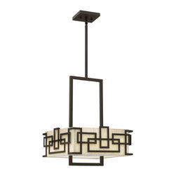 Hinkley Lighting - Lanza 15 in. 3-Light Drum Chandelier - Lanza makes a chic statement with its strong, rectangular metal work. This contemporary style features geometric detailing, a casual untrimmed oatmeal linen shade and an acrylic lens for sophisticated, modern appeal.
