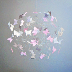 RR - Chic Pink and Grey Butterfly Mobile - Chic Pink and Grey Butterfly Mobile