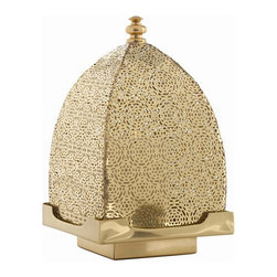 Sullivan Polished Brass Perforated Lantern - This incredible lantern is so gorgeous on its own, we can't imagine how well it creates ambiance with a flickering candle inside. We want a pair of these for our mantle.