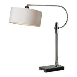 Uttermost Adara Glass & Chrome Desk Lamp - Ribbed glass column accented with polished chrome plated details and a matte black foot. Shade pivots up and down. Ribbed glass column accented with polished chrome plated details and a matte black foot. The round hardback shade is an ivory linen fabric with natural slubbing. Shade pivots up and down.