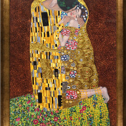 """overstockArt.com - Klimt - The Kiss (full view - Luxury Line) - 30"""" X 40"""" Oil Painting On Canvas This painting is part of our """"Luxury Line"""". It is made of the same hand painted oils on canvas, with the addition of beautifully hand embellished gold and silver accents. Exclusive only to our highest quality reproductions. Hand painted oil reproduction of a famous Klimt painting, The Kiss . The original masterpiece was created in 1907-08. Today it has been carefully recreated detail-by-detail, color-by-color to near perfection. Gustav Klimt, the Vienna master painted the Kiss oil painting in 1907. The painting depicts a couple surrounded by a gold blanket and ornaments sharing a moment of shear passion - the perfect kiss. In the oil and gold masterpiece, the man appears standing as he holds in his arms the kneeling woman. The two seem to be positioned on a flower field, kissing, totally engaged with one another. The woman seems to be following the lead of her partner, but is not taking an active part. The patterns of the man are mostly black and white rectangles, while the woman is engulfed in flowers. The identity of the people depicted in this oil painting is not exactly clear; some suggest that it is Klimt himself and his beloved partner, Emilie Floge. However, that is sheer speculation as Klimt made it a point never to paint himself. Gustav Klimt (1862-1918) was one of the most innovative and controversial artists of the early twentieth century. Influenced by European avant-garde movements represented in the annual Secession exhibitions, Klimt's mature style combines richly decorative surface patterning with complex symbolism and allegory, often with overtly erotic content. This work of art has the same emotions and beauty as the original. Why not grace your home with this reproduced masterpiece? It is sure to bring many admirers!"""