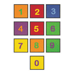 "Learning Carpets - Learning Carpets Indoor Outdoor Playmat Numbers - CPR527 10 x 14"" x 14"" - 10 Colorful numbered squares. Aids in color and number identification. Dimensions: 14"" x 14"" each square. Available in two sizes of each shape. Anti-Microbial Treatment: The Anti-Microbial treatment is a durable ""locked-in"" feature that is incorporated into the backing composite of all our rugs to minimize product deterioration and odors caused by microbial activity. This enhancement minimizes the opportunity for product-deteriorating microbial activity in the backing or beneath the carpet. This feature has been tested for effectiveness and safety. In addition, this anti microbial treatment remains active for the life of the carpet under normal use and with routinely accepted maintenance. All our Cut Pile Rug designs are available in various shapes and sizes. Lifetime Limited Wear Warranty. 10-year soil and stain protection. Lifetime anti-static fiber. High twist 100% nylon - prevents matting and crushing. Flexible back resists wrinkling. Triple Felt Backing. Double Stitching. Guaranteed Lowest Cost in the Industry. No Minimum Order Required. Superb Customer Service. Drop Shipping Available. Made in Holland."