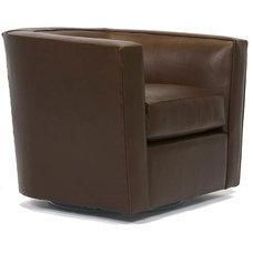 James Leather Swivel Rocker Chair