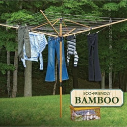 Greenway® GCL9FAB Deluxe Bamboo Fold-Away Clothesline - The Greenway GCL9FAB Deluxe Bamboo Fold-Away Clothesline provides ample room for drying clothes the natural way. This eco-friendly clothesline is constructed from durable bamboo in a natural finish. Stronger than steel, the bamboo is also easy to set up and take down. With 36 lines for hanging, the hanger provides 131 feet of total line space. The unit features convenient adjustable height settings. A ground spike is included for fast setup - it can be cemented into the ground. The clothesline also includes an all-in-one carrying bag and outdoor cover. Dimensions: 72W x 72D x 78.7H inches.About Greenway Home ProductsGreenway Home Products is a diversified home products company that designs, develops, manufactures, and markets an extensive line of residential appliances. The extensive line-up of products includes water dispensers, water treatment accessories, laundry racks, solar fountains, wine cabinets, and electric fireplaces, all of which incorporate cutting-edge design and technology. Designed and engineered in Canada, all of Greenway's products are made with a strong commitment to design and innovation.