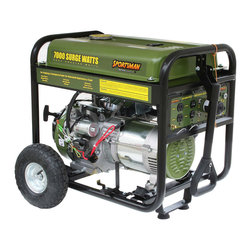 Buffalo Tools - Sportsman Series Gasoline 7000 Watt Generator - The Sportsman Series Gasoline 7000 Watt Portable Generator can power common major household appliances and power tools  and provide emergency power during blackouts. Equipped with four 120 volt outlets  a 12 volt DC outlet for battery charging  and a 120/240 volt outlet. Use this generator immediately with the recoil start or install a motorcycle battery (not included) to activate the electric start feature. With a 50% load this generator can run for 12 hours. A generator of this size is ideal for camping and running essential household appliances during power outages.  Itâs easy to transport and maneuver when the included wheel kit is installed. Powered by unleaded gasoline which is a convenient and easy to find fuel source. Choosing a gasoline generator like the Sportsman Series 7000 Watt Portable Gasoline Generator can ease your worry when catastrophe strikes  and make your leisure activities even more fun. 7000 surge watts/6000 running watts Ideal for emergency backup for your home or office  Includes a portability kit with two 10 in. wheels and a handle  so you can get power to wherever you need to go  13 HP engine  4 stroke OHV  air cooled 120/240 volt operation  AVR automatic voltage regulation  low oil shut off  spark arrestor  UL listed electrical components  full power panel  engine shut off switch  circuit breaker Recoil or electric start  battery for electric start not included Four 120 volt outlets  one 120/240 volt outlet  and one 12 volt DC outlet for battery charging Engine run time: 12 hours at 50 percent load 7 gallon fuel tank with gauge  unleaded gasoline EPA approved  Non-CARB compliant/Not for sale in California