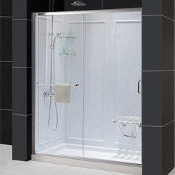 DreamLine - DreamLine Infinity-Z Sliding Shower Door,Shower Base and Backwall Kit - This kit combines the INFINITY-Z shower door,universal shower backwall panels and a coordinating SlimLine shower base to completely transform a shower space.